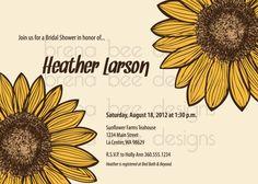 Sunflower Birthday Shower Party Invitation by brenabeedesigns, $10.00