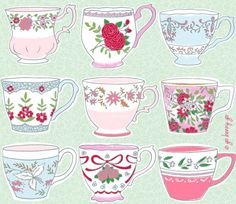 Surface Pattern Design and Illustration by Go Benny Go.: Vintage Teacups - A Style/Technique Experiment