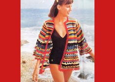 70s Retro Beach Cardigan  Vintage Crochet Pattern  by FabuStitches, $3.00