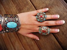 Turquoise stone Tibet Ring. Turquoise Coral by ZamarutJewel
