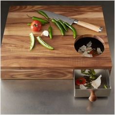 cutting board with waste drawer