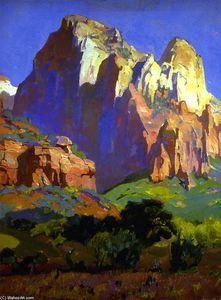 Desert Giants, Utah Artwork By Franz Bischoff Oil Painting & Art Prints On Canvas For Sale Famous Landscape Paintings, Oil Paintings, Portrait Paintings, Indian Paintings, Acrylic Paintings, Contemporary Paintings, Southwest Art, Mountain Paintings, Western Art