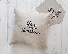 You Are My Sunshine Pillow, Personalized Quote pillows, Christmas Gift, Quote Pillow Cover, Canvas Pillowcase, Linen pillow, Cushion cover