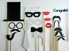 Wedding Photo Booth Stick Props / 20 piece set - LolliPop PIcture Props on Etsy