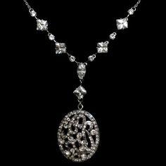 Oval Bridal Swarovski Necklace, Art Deco Wedding Jewelry - OTHELLO