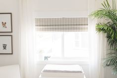 Love the blinds (can be made blackout) and sheer drapes Curtains With Blinds, Baby Boy Nurseries, Nursery Inspiration, Nursery Curtains, Nursery Blinds, Woven Wood Shades, Wooden Design, Blinds, Beautiful Nursery
