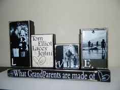 Grandparent gift grandma grandpa love what grandparents are made of personalized photo gift black and white shabby chic grandchildren