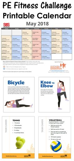 20 Best Printable Fitness Challenge Calendar images in 2019