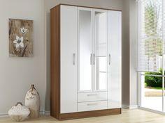 Birlea Flat Packed Lynx White and Walnut 4 Door 2 Drawer Mirrored Wardrobe