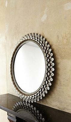 Thousand Leaves Mirror Carved Wood Frame Of Overlapping Silvered Danish
