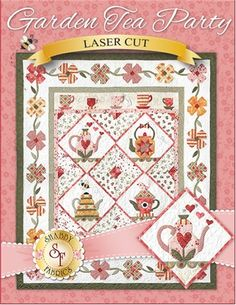 """Garden Tea Party - Laser-Cut Kit Celebrate spring with this adorable quilt! The Garden Tea Party quilt finishes to approximately 62"""" x 72"""" and is overflowing with colorful teapots, teacups and flowers!"""