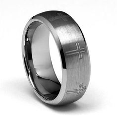 8mm Cross Laser Engraved Men's Tungsten Wedding Band