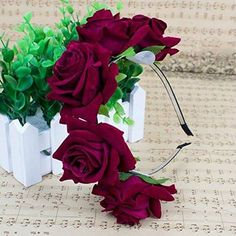 Flowers In Hair, Flower Hair, Hair Garland, Floral Crown, Floral Wreath, Wreaths, Ornaments, Red Roses, Plants