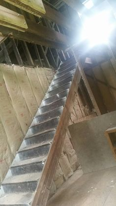 Master bedroom stairs before