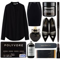 Bold in Black by eclectic-chic on Polyvore featuring Uniqlo, T By Alexander Wang, Yves Saint Laurent, MAC Cosmetics, Smashbox, Aéropostale, Sort of Coal, Sloane Stationery, allblack and FABSUM