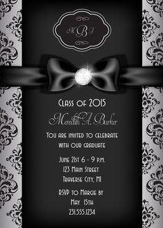 Printable Graduation Announcement Invitation Silver Diamond Ribbon Invite Party Invitations