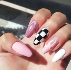 In seek out some nail designs and some ideas for your nails? Listed here is our set of must-try coffin acrylic nails for cool women. Edgy Nails, Aycrlic Nails, Grunge Nails, Trim Nails, Swag Nails, Pink Nails, Coffin Nails, Pastel Nail, Glitter Nails