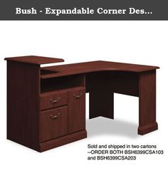 Bush - Expandable Corner Desk Solution (B/F/D) Box 2 of 2 Syndicate, Harvest Cherry 6399CSA2-03 (DMi EA. Durable melamine surfaces are dent- and scratch-resistant. Box/file pedestal with open storage area and enclosed CPU compartment. Drawers operate on full-extension ball bearing slides; file drawer accommodates letter and legal size files. Elevated printer shelf. Integrated 4-port USB hub and charging station for portable devices. Color: Harvest Cherry; Pedestal Count: 1; Top Shape:...
