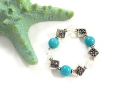 Pin Me! Turquoise, Swarovski Crystal and Bali Silver Bracelet by Linda Dunn Or Buy Me on URCrafti.com