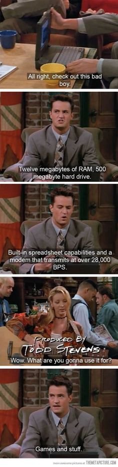 Friends tv show - Chandler's new laptop Friends Tv Show, Serie Friends, Friends Episodes, Friends Moments, I Love My Friends, Friends Forever, Chandler Friends, Joey Friends, Funny Friends