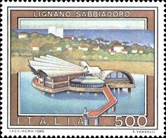 Sello: Tourist- Lignano Sabbiadoro (Italia) (Tourist Attractions) Mi:IT 1849 Php, Stamp Collecting, Postage Stamps, Poster, Cartoon, 1990, Cards, Pictures, Countries