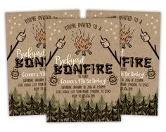 printable bonfire birthday invitation bonfire invitations bonfire party invite rugged bonfire birthday - Bonfire Party Invitations
