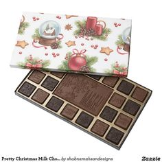 Pretty Christmas Milk Chocolate Bar Treat your loved ones to Christmas chocolate with a cute engraved Christmas images on the bar and a festive red Christmas balls, star, red candles and golden Christmas bells and Christmas snowball print on box's lid. Great to give as a gift to friends and family. pretty #gift   #Christmas  #red  #MerryChristmas #Christmas bells
