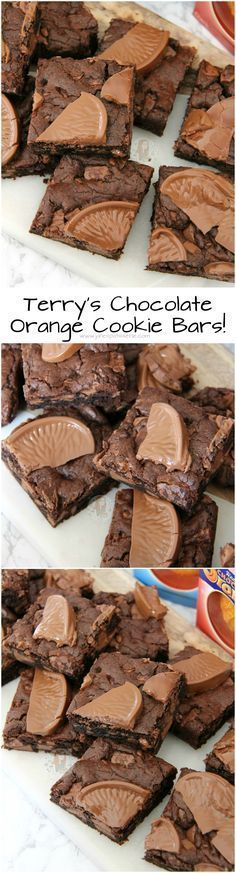 These look too nice not to try! Though may need to import a few choc oranges Terry's Chocolate Orange Cookie Bars! Easy to Bake, even Easier to eat the Entire Batch! Köstliche Desserts, Delicious Desserts, Dessert Recipes, Yummy Food, Easter Recipes, Chocolate Orange Cookies, Orange Brownies, Chocolate Bars, Chocolate Cupcakes