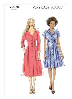 Vogue Patterns, Simple Dresses, Summer Dresses, Miss Dress, Dress Sewing Patterns, Diy Fashion, Shirt Dress, Sew Dress, Style