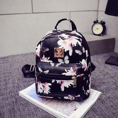 Купить товар2016 горячая распродажа женщины рюкзак мода причинная цветочный печать кожаная сумка дорожная рюкзак школьный рюкзак Mochila Feminina в категории Рюкзакина AliExpress.