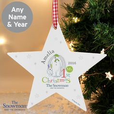 Our The Snowman and the Snowdog 1st Christmas Wooden Star Decoration will look great on any Christmas tree or hung around the some as a festive feature.  #ChristmasGifts