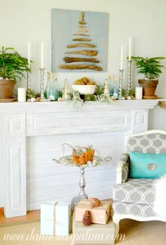 Easy diy Driftwood Tree: http://beachblissliving.com/beach-christmas-mantel/