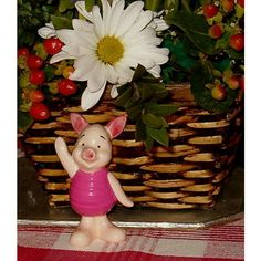 """Vintage Piglet Figurine, Disney, Japan, Pottery, Pink, 3 1/8""""H,... ($14) ❤ liked on Polyvore featuring home, home decor, disney home decor, pink home decor, disney, disney figurines and disney figure"""