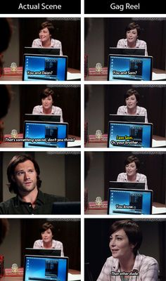 [gifset] Actual scene vs gag reel. 9x08 Rock and a Hard Place