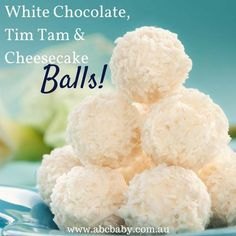White Chocolate, Tim Tam and Cheesecake Balls No Sugar Desserts, Diabetic Desserts, Diabetic Recipes, White Desserts, Diabetic Foods, Sweet Recipes, Snack Recipes, Dessert Recipes, Cooking Recipes