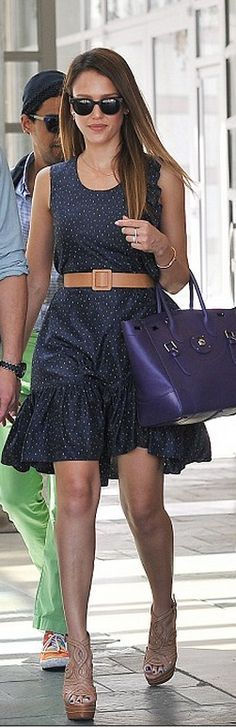 Who made  Jessica Albas purple tote handbag and nude swirl sandals that she wore in Los Angeles?