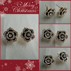 "24 Hour Sale Black Rose Rhinestone Earrings Earrings measure 3/4 x 3/4""  New without tags. unbranded  Jewelry Earrings"