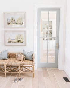 coastal entryway design // beach inspired home // light wood floors // rattan woven bench Entry Way Design, Attic Design, Apartment Decoration, Entryway Decor, Coastal Entryway, Coastal Farmhouse, Hallway Decorating, Coastal Homes, Decorating With White Walls