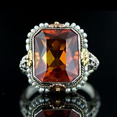 Vintage Madeira Citrine Ring- oh i do love a good seed pearl.