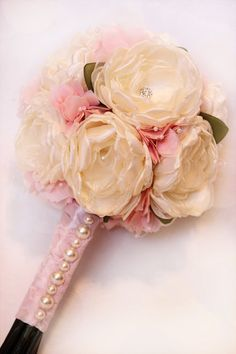 Fabric Flower Bouquet U PICK COLORS with matching boutonniere