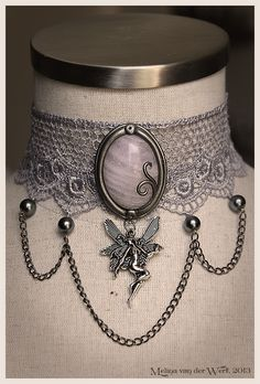 Victorian choker with pink quartz and metallic fairy.