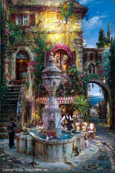 Twilght by the Fountain.jpg 797×1,200 pixels