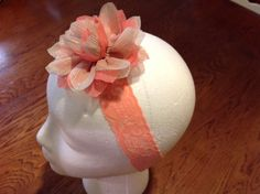 Peach lace elastic headband with cream and peach flower with subtle glimmering gold by FourHeartsDesigns on Etsy