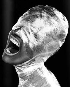 masked by cellophane - suffocating culture? Conceptual Photography, Artistic Photography, Creative Photography, Portrait Photography, Fashion Photography, Arte Peculiar, Images Esthétiques, Plastic Art, Plastic Foil
