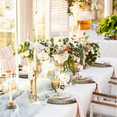 What tablescape dreams are made of!  #goldaccents #polyester #napkins #blush #floral #wedding #event #dinner #reception #voile #table #runner #beautiful #tablescape #bridalshower
