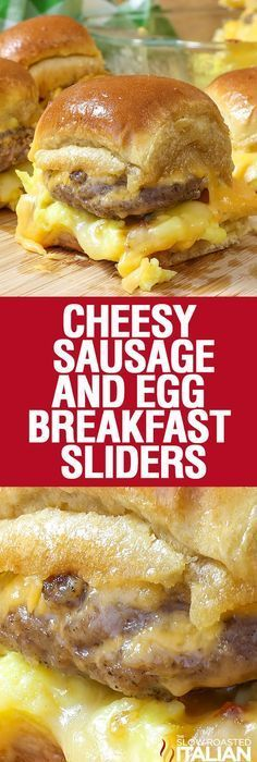 Cheesy Sausage and Egg Breakfast Sliders are a fully loaded perfectly portable hand held breakfast. All of your favorite breakfast fixin's come together with the most amazing and unexpected glaze to create the perfect Brinner (breakfast or dinner). We lo