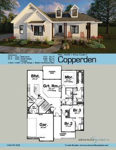 29295 Copperden A pair of gables rise above a deep covered front porch, giving this 2,122 sq. ft., 1-story house plan an undeniable sense of country cha
