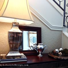 Recreate Redecorate Reuse: Home Entry Makeover by @Lifestyle Design #LifestyleDesign http://byLifestyleDesign.com #mercuryglass #lamp #chrome #trophy #vase