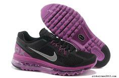 Mens Nike Air Max 2013 Black Purple Silver Shoes