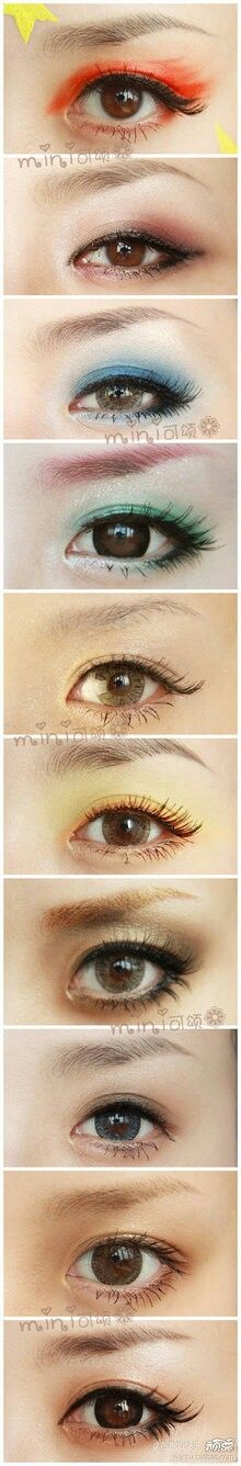 Variety of colorful asian eye makeup looks